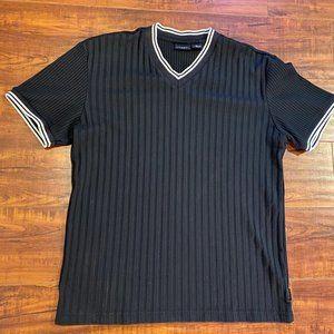 Vintage 80s Guess Jeans Ringer Striped Black Shirt